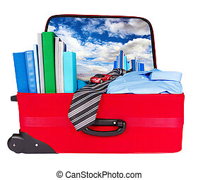 Travel blue business suitcase packed for trip
