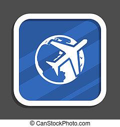 Travel blue flat design square web icon