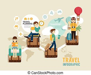 Travel board game flat line icons concept infographic step...