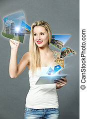 Travel booking with digital surface - conceptual photo of...