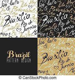 Travel brazil south america rio city pattern gold
