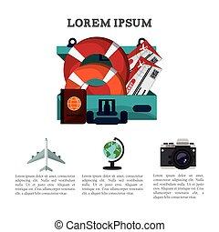travel brochure promotion vacation information vector...