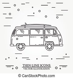 Travel bus family camper with surf board thin line. Traveler truck tourist bus outline icon. RV travel bus grey and white vector pictogram isolated on white. Summer bus family travel concept. Vector illustration.