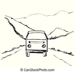 Travel bus hand drawn illustration. Road near mountains