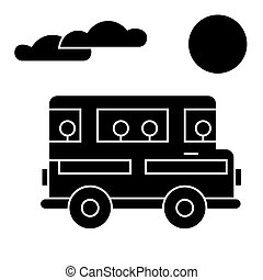 travel bus  icon, vector illustration, sign on isolated background