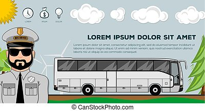 Travel bus. Transportation banners or posters. Ideal for web site or social media network cover profile image.