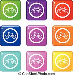 Travel by bicycle is prohibited traffic sign set - Travel by...