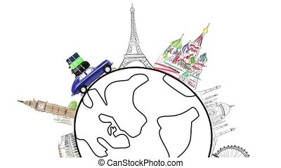 Travel by car - Around the world. Blue retro toy car with...