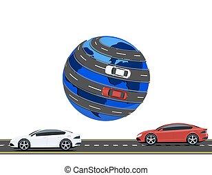 Travel by car around the world. Road, high-speed highway machine. illustration