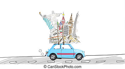 Travel by car - Around the world travel memories. Blue retro...