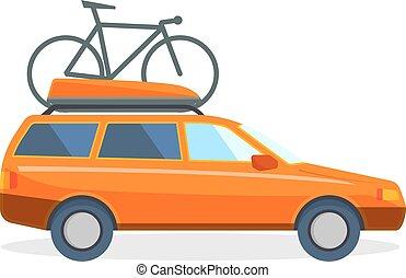 Travel by car flat summer vacation  illustration.