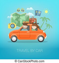 Travel by Car. Happy Couple Traveling with Baggage in Car. Vector illustration