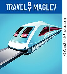 Travel by maglev train blue modern poster
