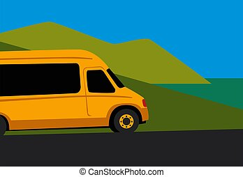 Travel by minivan. Yellow minibus on the seaside road.