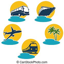Travel by plane, bus, boat and express train, vector illustration