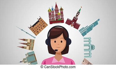 Travel call center agency HD animation - Call center agent...