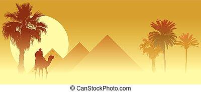 Travel - Camel caravan going through the sandstorm in the...