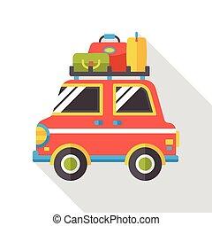 travel camp van flat icon