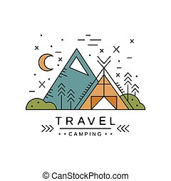 Travel camping logo design, adventure, alpinism, mountaineering and outdoor activity vector Illustration