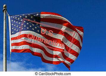 Travel canceled quarantine global pandemic corona virus covid-19 blur American flag against a blue sky with clouds