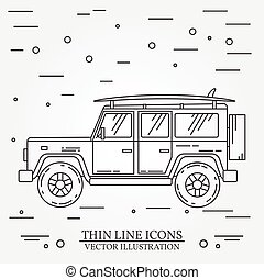 Travel car family camper with surf board thin line. Traveler truck car outline icon. Travel car grey and white vector pictogram isolated on white. Summer family travel concept. Vector illustration.