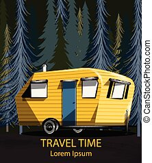 Travel car in the forrest Vector. Camping trailer into the woods at night dark