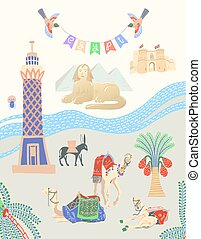 travel card about Egypt, great famous egyptian places in...