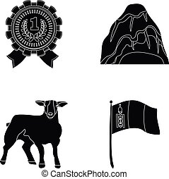 travel, cattle and or web icon in black style.training,...