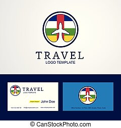 Travel Central African Republic Creative Circle flag Logo and Business card design