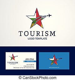 Travel Central African Republic flag Creative Star Logo and Business card design