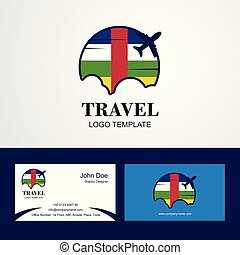 Travel Central African Republic Flag Logo and Visiting Card Design