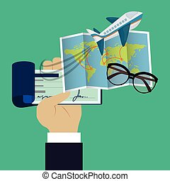 travel checkbook map glasses green background vector...