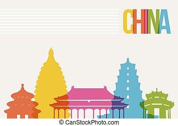 Travel China destination landmarks skyline background