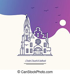 Travel CHRIST CHURCH WINDHOEK Poster Template. Purple creative background