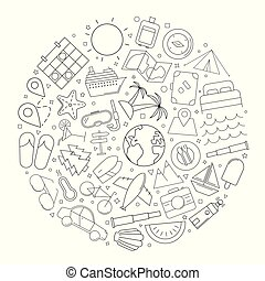 Travel circle background from line icon. Linear vector pattern.