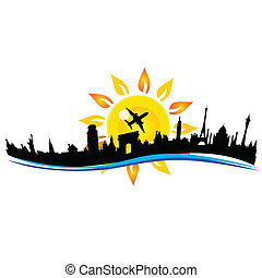 travel city building sign illustration