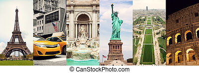 Travel collage of famous places