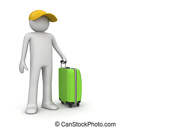 Travel collection - Tourist in cap with green suitcase