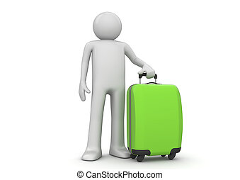 Travel collection - Tourist with green suitcase