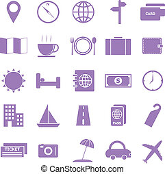 Travel color icons on white background