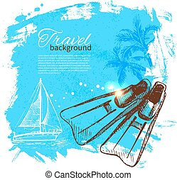 Travel colorful tropical design. Splash blob background