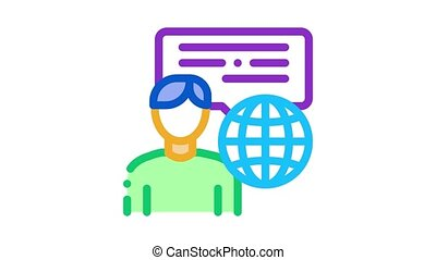 travel company representative Icon Animation. color travel company representative animated icon on white background