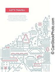 Travel composition - line flat design banner