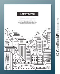 Travel composition - line flat design banner - Lets travel -...