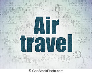 Travel concept: Air Travel on Digital Data Paper background