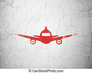 Travel concept: Aircraft on wall background