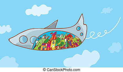 Travel concept - airplane and landscape cartoon