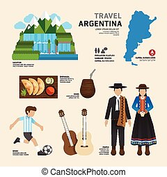 Travel Concept Argentina Landmark Flat Icons Design .Vector...