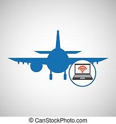 travel concept. connection internet hotel. silhouette blue plane