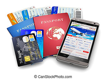 Creative abstract business travel and tourism concept: air tickets or boarding pass, passports, touchscreen smartphone with online airline tickets booking or reservation internet application and credit cards isolated on white background